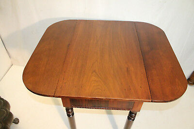 Great American Victorian Solid Walnut Drop Leaf Side End Table With Drawer