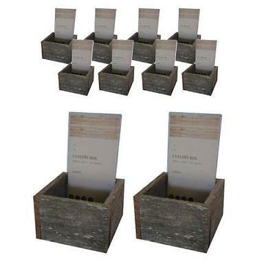 20x Distressed Timber Cutlery Box, 120x120x100mm, Knife, Fork, Spoon Holder