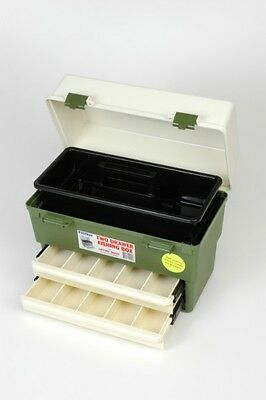 Fischer Plastic Products Fishing Tackle Box with Two Drawers and a Tray 1H-179