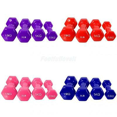 Vinyl Ladies Dumbbell Hand Weight Home Fitness Exercise Training 3LB 0.5/1/1.5KG