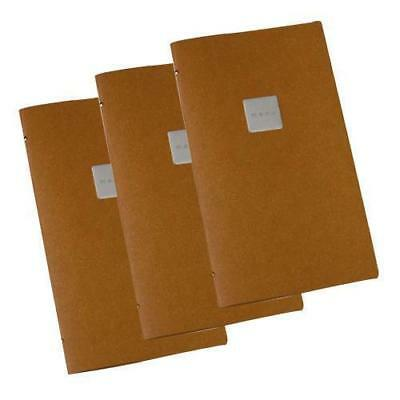 10x Deluxe Tuscan Leather Menu, Natural A4 Narrow w 4 Pockets, 'Menu' Badge NEW