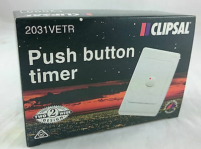 Clipsal Electronic Time Delay 2031VETR Timer Switch Push button 250v 10A 2 Wire