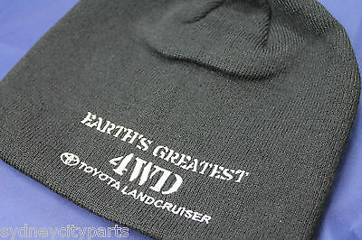 Toyota Landcruiser Beanie Black Acrylic Embroidered Earths Greatest 4Wd