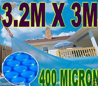 NEW 400 Micron Ourdoor Solar Swimming Pool Cover Bubble Blanket 3.2m x 3m