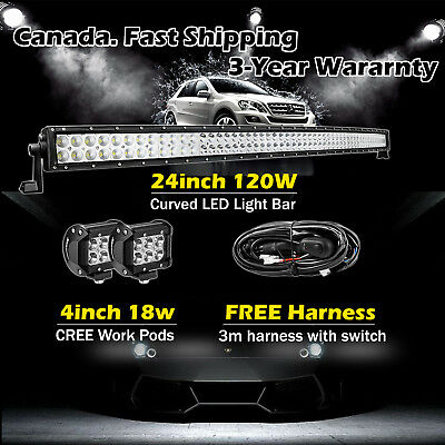 24 inch Curved LED Light Bar + 2x 4in CREE LED Lights Pods Jeep Truck SUV ATV 20
