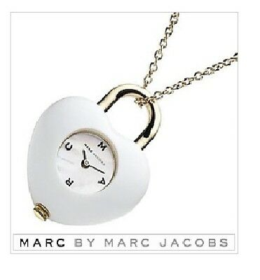 Marc Jacobs White Acrylic Heart+Mop,gold Tone Chain Watch Necklace-Mbm8501