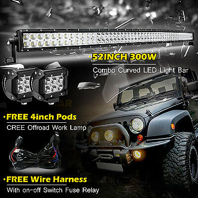 52Inch 300W Curved Flood Spot Led Work Light Bar + 4Inch 18W Cree Pods Suv 54""