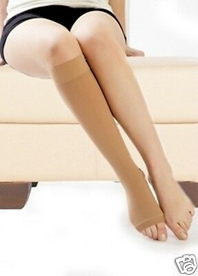 Class 2 High Pressure Compression support Socks stockings Open toe 30-40mmhg Tan