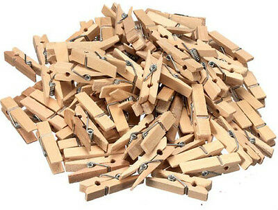 Natural Wooden Mini Craft Pegs Wood Colour Cloth Photo Hanging Spring Clips 25mm