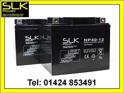 2 x 12v 40AH PRIDE COLT DELUXE MOBILITY SCOOTER  AGM/GEL MOBILITY BATTERIES