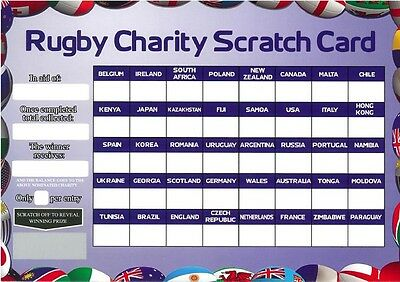 5 Rugby 40 World Team Names Scratch & Match Card Fundraising Charity Football