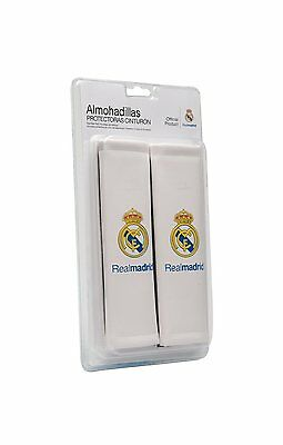 2 x White Car Seat Belt Pad Harness Adult Size Club Crest Official Real Madrid