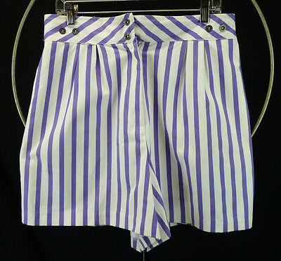Vintage 90s Purple Stripe High Waisted Shorts Wide Leg Beach Surf Fun L 32 Waist