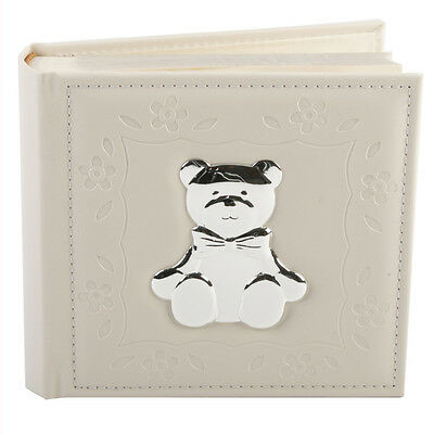 New Baby Faux Cream Leather Album with Silver Plated Teddy Bear Icon