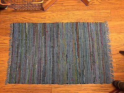 Sturbridge Rag Rug- 2' x 3' - 100% Cotton - color -Denim