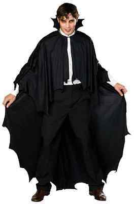 Long Black Fabric Vampire Cape Fancy Dress Halloween Adult Costume Accessory