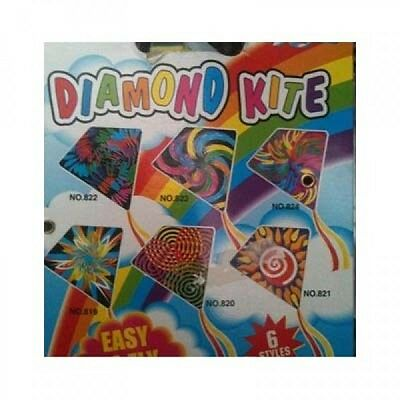 Children Diamond Kite Single Line Kids Easy to Fly Fun Toy Colourful Assorted