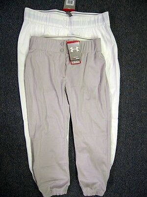 Under Armour Womens Junior Softball Fastpitch Pants Gray, White or Black 1001277