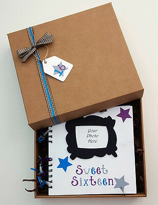 """Sweet Sixteen Guest Book, 8"""" x 8"""" boxed Scrapbook, Birthday Party Photo Album"""