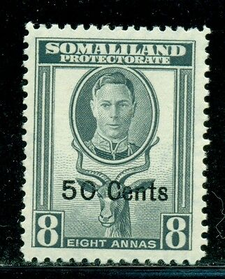 SOMALILAND PROTECTORATE Sc121 SG130 MNH 1951 50c on 8a KGVI Greater Kudu SCV$3