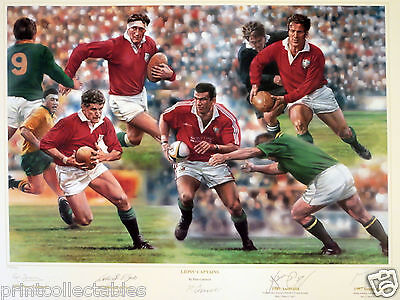 British and Irish Lions' Tour Winning Captains Signed Rugby Print DAMAGED