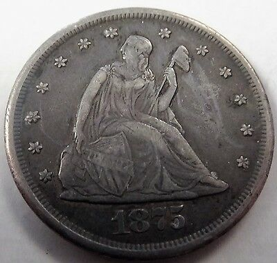 1875 CC 20c Seated Key Date Great Details VF/XF