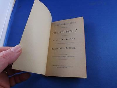 Parliamentary Rules Book For The Use Of Fraternal Societies 1890 Robesons