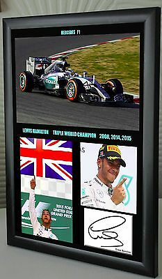 Lewis Hamilton F1 Triple World Champion Mercedes Framed Canvas Print Signed