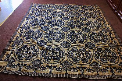 1834 jacquard woven coverlet Genessee NY blue cream eagles