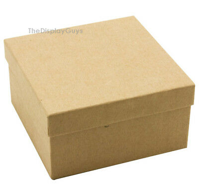 "US Seller~12 pcs 3 3/4""x3 3/4""x2"" Kraft Cotton Filled Jewelry Gift Boxes"