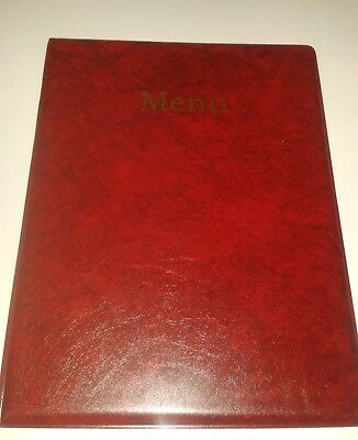A4 Menu Holder/Cover/Folder In Red Leather Look Pvc