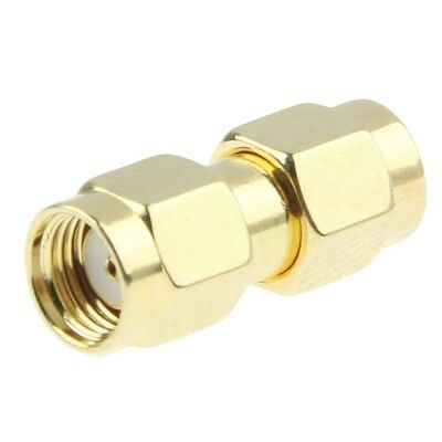 SMA MALE to RP-SMA MALE Antenna Adapter Converter Extender Gold Plated