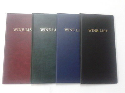 Wine List Pvc Leather Look Folder In Various Colours