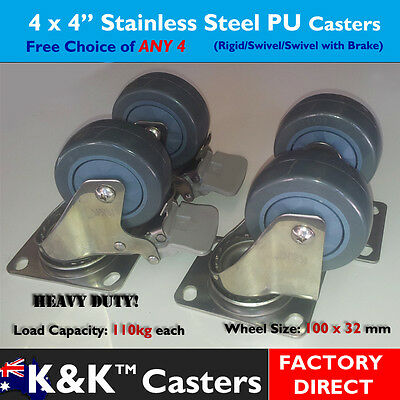 "4xPU Stainless Steel (Red) 4"" Caster/Castor/Wheel Set for Platform Trolley/Dolly"