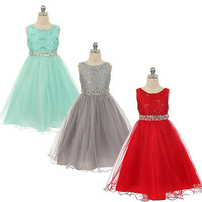 Sequins Flower Girl Dress Party Wedding Bridesmaid Ball Gown Formal Dresses 2-9Y