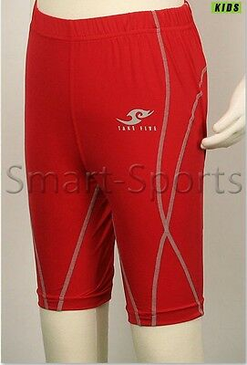 New Youth Boys Compression Sports Gear Base Layer Skin Tight Shorts Pants | Red