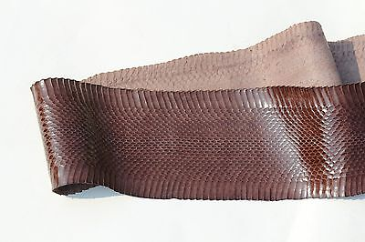 Authentic Asia Snakeskin Snake Skin leather hide Belly Brown