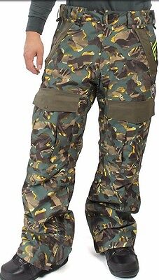 Adidas GREELEY Mens Insulated Snowboard Pants Large Print Camo NEW 2016