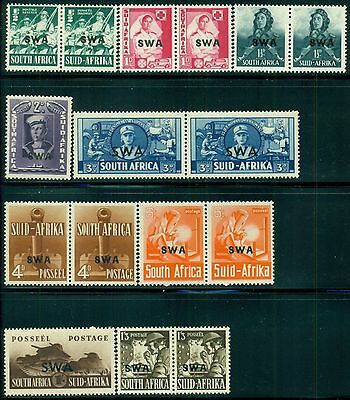 SOUTH WEST AFRICA Sc135-43 SG114-22 MH 1941-43 KGVI set of 9 (7 pairs+2) SCV$64