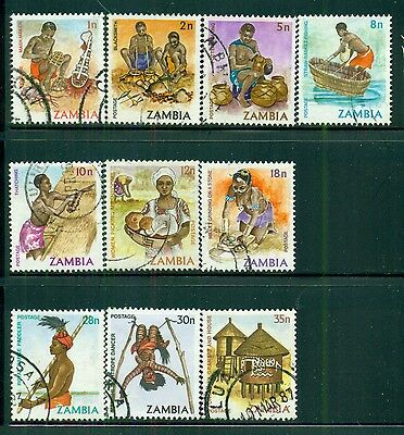 ZAMBIA Sc240-48 SG337-46 Used 1981-83 Defin short set of 10 to 35n SCV$5