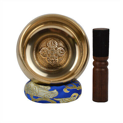Meditation Tibetan Plain Singing Bowl with Bajra & ethnic case. For Yoga + (B52)