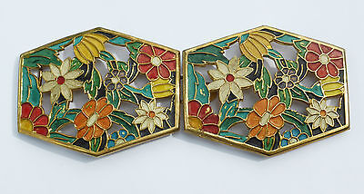 BELT BUCKLE/CLASP ART DECO Enamel Multi-coloured Flowers