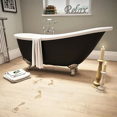 Freestanding Slipper Roll Top  Acrylic Bath Tub Black and Chrome Claw Feet