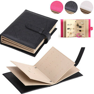 Faux Leather Earrings Organizer Display Book Storage Case Studs Jewelry Holder