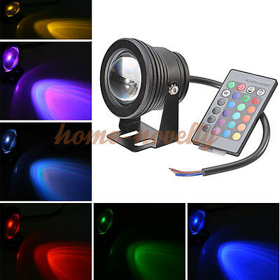 12V RGB LED Underwater Spot Light Garden Pool Waterproof Pond Outdoor Remote 10W