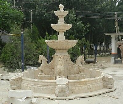 Hand Carved Estate Marble 12' Horse Outdoor Water Fountain Hf58