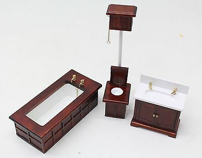 NEW Dolls House 1:12 Scale Beautiful Classic Wood White 3 Pc Bathroom Suite Set