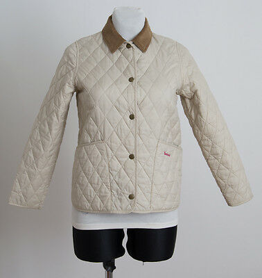 Girls Barbour Quilted Jacket Coat Velvet Collar Beige10 11 Years L Large Exc
