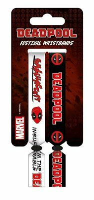 Deadpool 2 Pack Festival Woven Black White Wristbands Bracelets Official Marvel