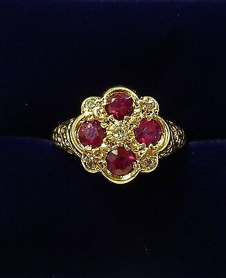Vintage Ruby & Diamond Cluster ring - 18ct Yellow Gold - Size M